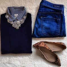 checks+ denim + leopard + navy + statement necklace