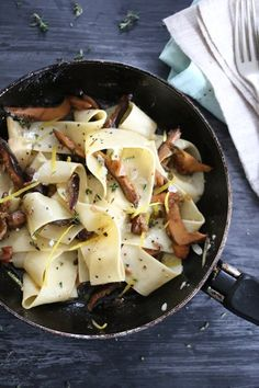 Wild mushroom, Lemon and Thyme Pappardelle