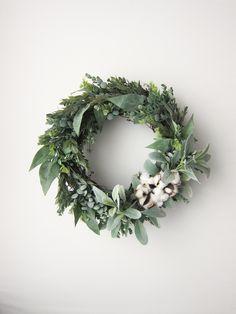 Farmhouse Cotton + Greenery Wreath