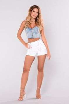 Available In Light Denim Strapless Crop Top Button Front Distressed Cotton Nylon Spandex Sexy Outfits, Casual Outfits, Fashion Outfits, Womens Fashion, Denim Crop Top, Crop Tops, Navy Shorts, White Shorts, Strapless Crop Top
