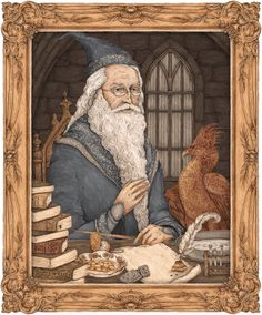 Animated illustration of Albus Dumbledore's portrait