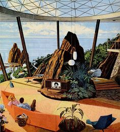 "Motorola Ads ""House of the Future"" by Charles Scridde, early 1960s No. 1"