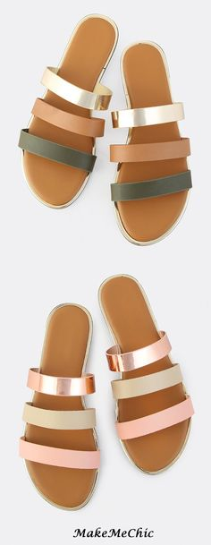 Triple Band Slip On Sandals Olive, Rose Gold / Only Me ✌✔ xoxo