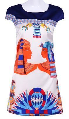 White Blue Short Sleeve Egypt Print Dress