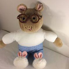"""1995 EDEN Marc Brown 14"""" ARTHUR Plush Stuffed Doll Pajamas Bedtime Glasses  #Eden"""