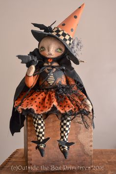 Primitive Witch doll Halloween Witch doll bat themed, by Robin Seeber