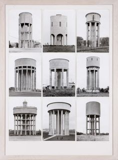 Becher, Bernd, Becher, Hilla: Typology of Watertowers (Tipología de torres de agua) Hilla Becher, Industrial Architecture, Villa, Building Structure, Water Tower, Abandoned Buildings, Victorian Homes, New Art, Moma