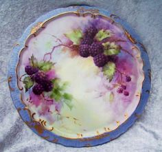 "Exceptional & Large Limoges 1940-1970's Hand Painted ""Blackberry"" 10-14"" Trivet by the Renown Artist, ""Maria Garcia"""
