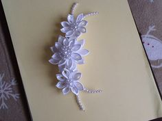 White Kanzashi Flowers with Pearls   Hair by LihiniCreations