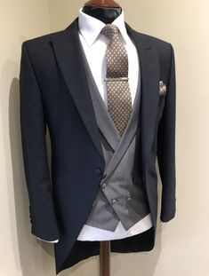 Wedding Suit Hire For Men & Tailoring Black morning suit with grey double breasted waistcoat & mustard tie Wedding Morning Suits, Wedding Suit Hire, Black Suit Wedding, Wedding Ushers, Double Breasted Waistcoat, Black Waistcoat, Der Gentleman, Gentleman Style, Gents Fashion