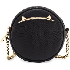 Betsey Johnson Cats Meow Round Crossbody Bag (1 160 UAH) ❤ liked on Polyvore featuring bags, handbags, shoulder bags, black, cat, round handbags, cat handbag, chain shoulder bag, betsey johnson and bow handbag