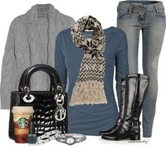 """Blue and Grey"" by wannabchef on Polyvore"
