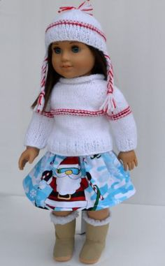 """18"""" American Girl Doll Christmas Hand Knit Knitted 3 Pcs Sweater Hat Skirt Set"""