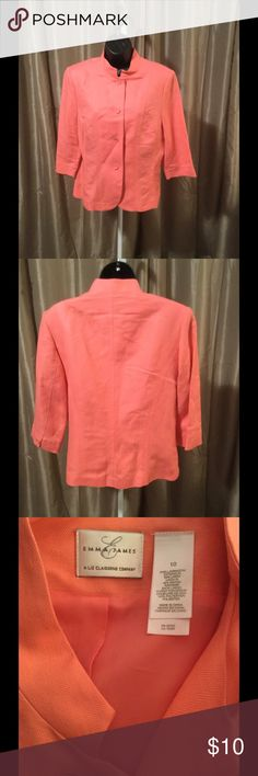 Ladies Jacket This beautiful peach linen jacket will add nicely to your spring/summer wardrobe! No rips, stains or smells. Bundle and save even more! Emma James Jackets & Coats