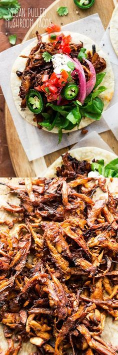Vegan pulled mushroom tacos are a delicious meatless alternative to the traditional version of this classic crowd pleaser. They are easy to make, healthy and naturally gluten-free too. Veggie Recipes, Mexican Food Recipes, Whole Food Recipes, Vegetarian Recipes, Cooking Recipes, Healthy Recipes, Vegetarian Mexican, Vegetarian Tacos, Quick Vegetarian Dinner