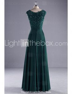 Formal Evening Dress Ball Gown Scoop Floor-length Chiffon / Lace / Charmeuse withBeading / Lace / Pearl Detailing / Ruffles / Sash 2017 - $89.99