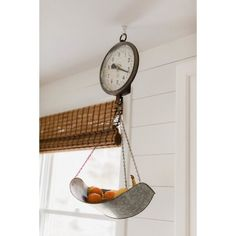 Farmhouse Scale Clock - Similar to the vintage hanging scale in Lauren McBride's kitchen, this decorative scale clock is perfect for holding fruits and veggies or even seasonal de - Painted Fox Home Decor, Luxe Lodge, Farmhouse Kitchen Decor, Hanging Scale, Painted Fox Home, Farmhouse Decor, Vintage Scale, Kitchen Decor, Bathroom Inspiration