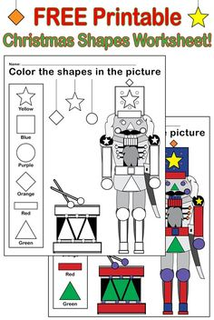 This Christmas themed nutcracker shapes worksheet and coloring page provides a fun way for toddlers and preschoolers to practice shape and color recognition as well as fine motor skills! Nutcracker Crafts, Nutcracker Christmas, Christmas Themes, Christmas Math, Holiday Crafts, Shape Coloring Pages, School Coloring Pages, Fun Classroom Games, Classroom Ideas