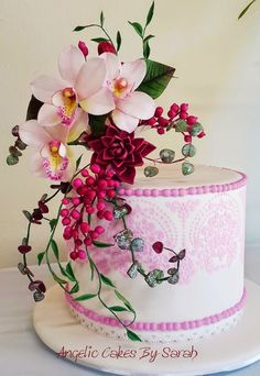 Pink Orchids stencilled cake by Angelic Cakes By Sarah (@angeliccakesbysarah)