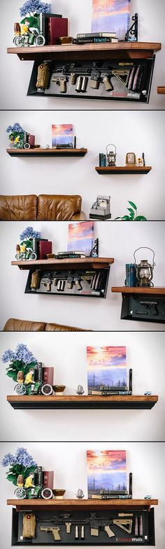 If you're looking for a storage solution that matches your passion for guns, while still keeps things on the hush hush, TacticalWalls has something for you.  The company specializes in shelves that double as storage solutions for rifles and handguns. When folded up, they're hardwood shelves that are perfect for holding pictures or knickknacks, but when you drop them down by disengaging two hidden locks with the supplied magnetic keys, there's ample room for your firearms, thanks to a ...