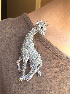 Crystal Rhinestone Brooch Giraffe HUGE 4 3/4 x 2  inches Aurora #unbranded