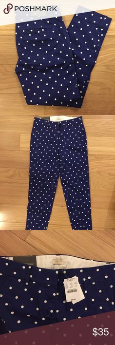 J. Crew Dress/Chino Pants (Brand New) New with tags dress/chino pants from J. Crew Factory size 00. Blue with white polka dots. Fit is slim and hits the ankle. Perfect for work or just a day out! J. Crew Factory Pants Ankle & Cropped