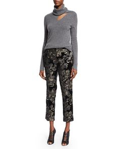 Billy Turtleneck Sweater & Baldwin Floral-Velvet Ankle Pants by A.L.C. at Neiman Marcus.