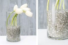 Showcase your shimmer with our glittered glass pebbles contained in clear glass vases!