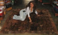 Dark brown baby alpaca fur rug from Peru
