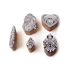 Flower and Heart Hand Carved Motif Wood Print Stamps (Set of 5) #RoyalKraft #ArtDeco