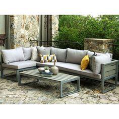 Oana 4pc Acacia Wood Sectional Chat Set W Cushions Beige