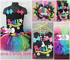 Rock and Roller Skate - Retro 80s Baby Neon Rainbow Tutu Skirt and Shirt Birthday Party Outfit Pop Star Rock Star ) 12mos-8