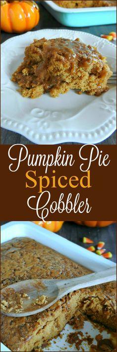 Pumpkin pie spiced cobbler. Perfect for Thanksgiving! sewlicioushomedecor.com