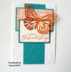Geburtstagskarte mit Schmetterlingsgruß und Something Lacy
