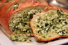 Artichoke feta garlic bread.  Good way to use a bunch of the herbs we're growing.