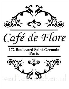 Shabby Chic sjabloon Café de Flore. Verkrijgbaar in A3 formaat. Exclusief bij verftechnieken.nl