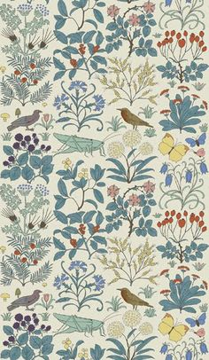 Charles Voysey - Apothecary's Garden, floral, birds, insects, nature, leaves, butterfly