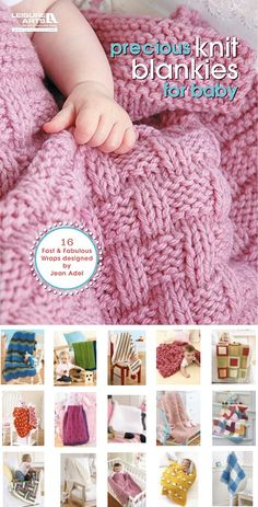Precious Knit Blankies for Baby - 16 knitting patterns for baby blankets, the . Precious Knit Blankies for Baby - 16 knitted patterns for baby blankets that designers say are fast and easy to knit. Designed by Jean Adel. Baby Knitting Patterns, Free Baby Blanket Patterns, Crochet Patterns, Scarf Patterns, Easy Knit Baby Blanket, Knitted Baby Blankets, Knitted Baby Clothes, Quick Knitting Projects, Easy Knitting