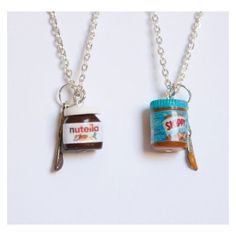 BFF nutella and peanut butter necklaces, Nutella lover, bff necklaces,... ❤ liked on Polyvore featuring jewelry, necklaces and mini necklace