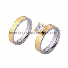 anillo de compromiso cristal en acero plateado inoxidable para amantes…