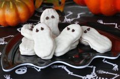 Nutter Butter Ghosts: Nutter Butters are naturally ghost-shaped, so dip them in white chocolate, add some mini chocolate chips for eyes, and you're done. The only thing to be scared of: how addictive these can be!  Source: Our Best Bites
