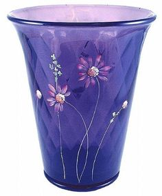Fenton Art Glass - ''Pink Daisies on Hyacinth'' 7'' Flip Vase by Fenton USA, www.amazon.com/...