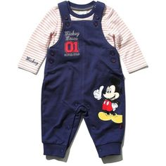 Mickey Mouse dungarees and top set ❤ liked on Polyvore featuring tops, spaghetti-strap tops, button top, stripe top, mickey mouse tops and blue top