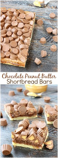 Buttery and flaky shortbread is covered with a rich chocolate peanut butter mixture then topped with peanut butter cup minis in these Chocolate Peanut Butter Shortbread Bars. Rich like fudge, this dessert is not for the faint of heart. Easy dessert | Call Me PMc