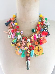 Vintage Toy Necklace Flower Necklace Statement by CurioJewellery