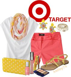 """On Target with COral & Yellow"" by kelley74 ❤ liked on Polyvore"