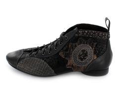 Think! Guad Damen Booties aus Leder in Schwarz