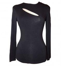 Donna Karan NY Black Cutout Jersey Top Size S