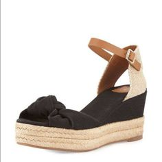 a5097dd031e4 Tory Burch Knotted Bow Wedge Sandals Never been worn Black and Tan Tory  Burch wedges!