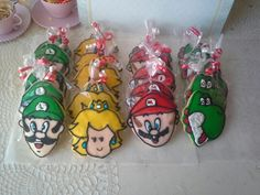 Super Mario bros decorated cookies. Made by Pastry Chef Yolanda- www.Facebook. com/PastryChefyolanda